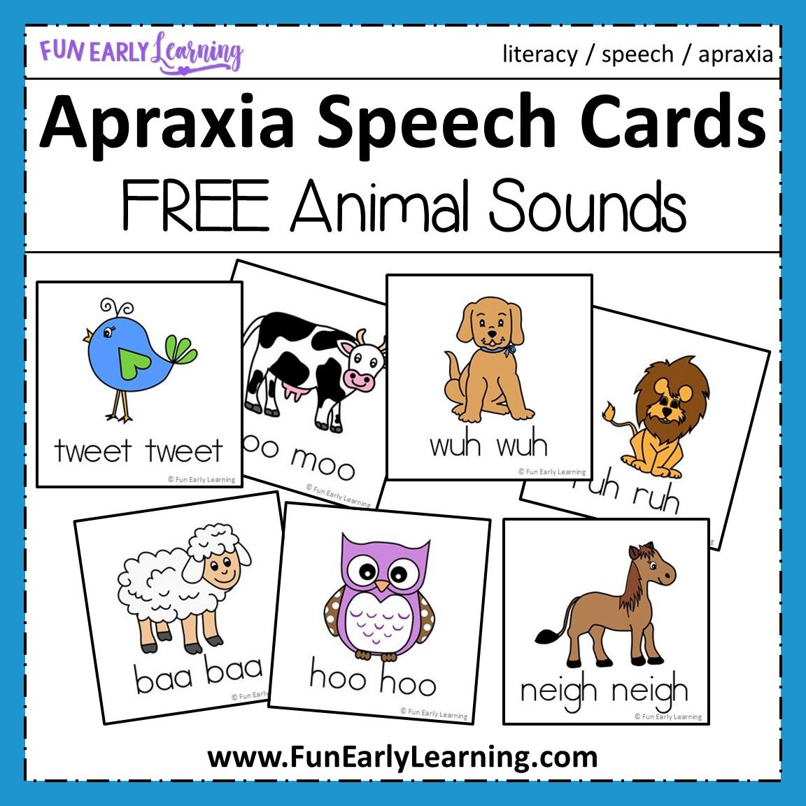Apraxia Speech Cards Animal Sounds Apraxia, Childhood