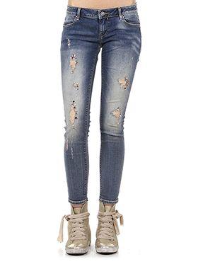 find Jeans Skinny a Vita Bassa con Strappi Donna