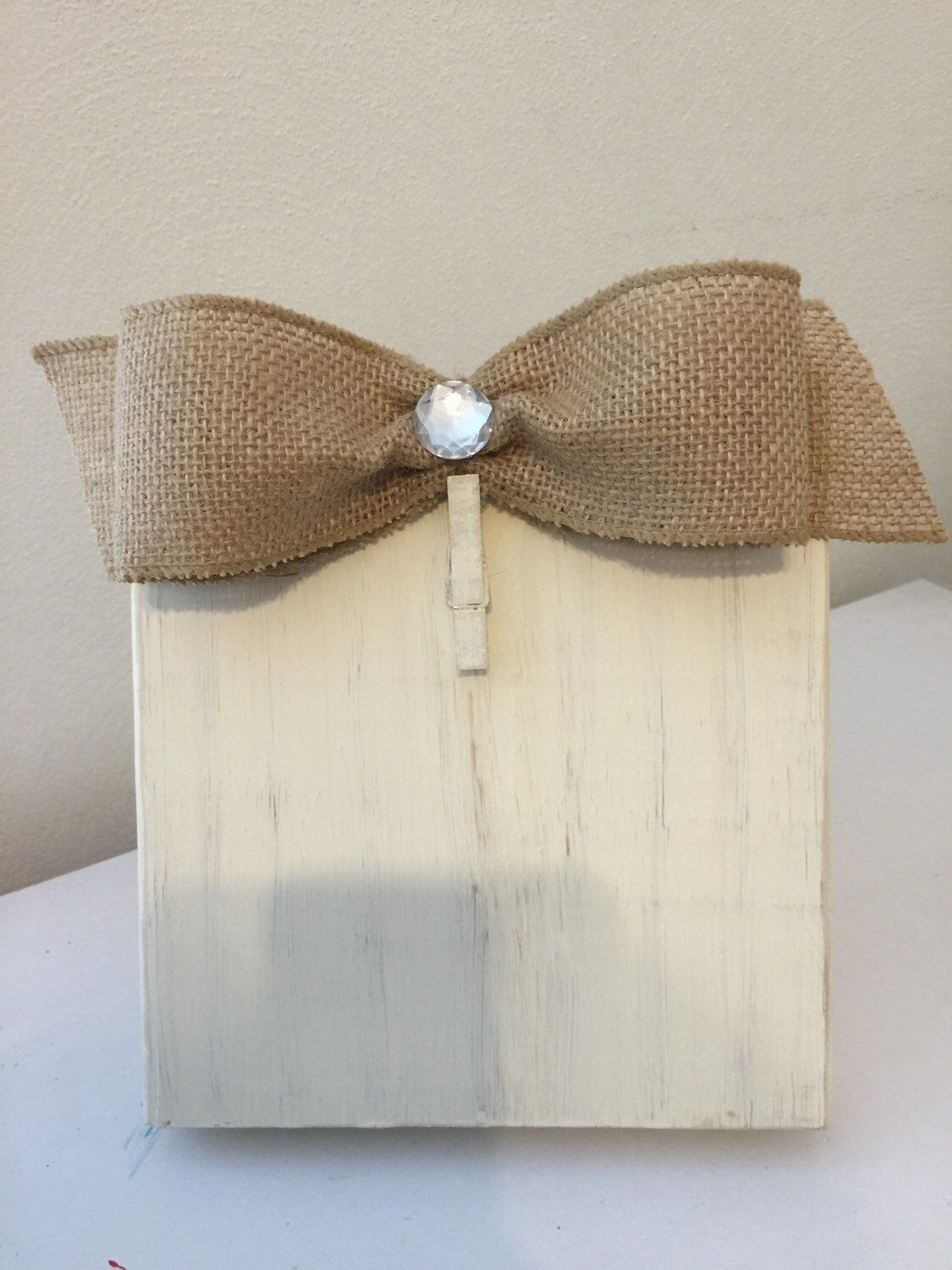 Antique White Distressed Painted Wood Block Frame with Burlap Bow ...