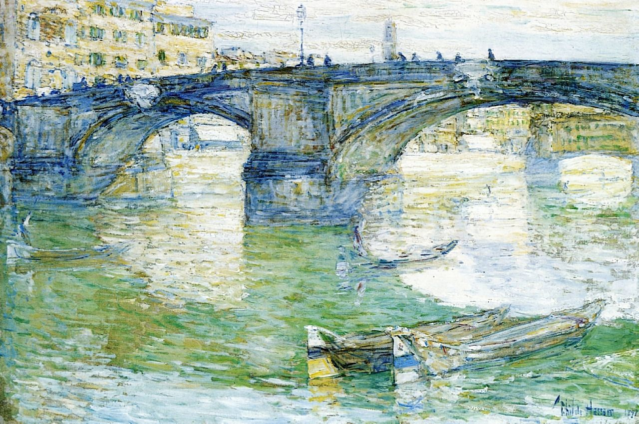 The Louvre on Pont Royal by Childe Hassam Giclee Fine Art Print Repro on Canvas