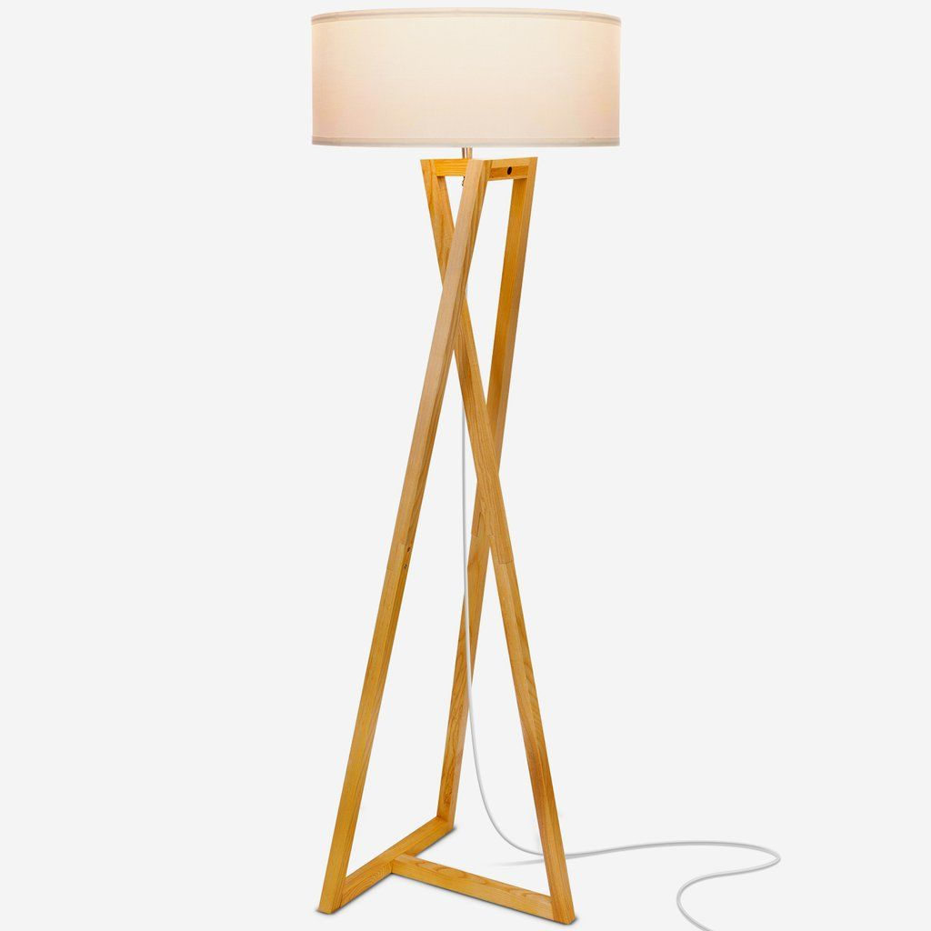 The Brightech Z Has A Unique Design That Fits Well With A Range Of Decor Including Mid Century Modern Contemporary Ind With Images White Lamp Shade Wood Floor Lamp Lamp
