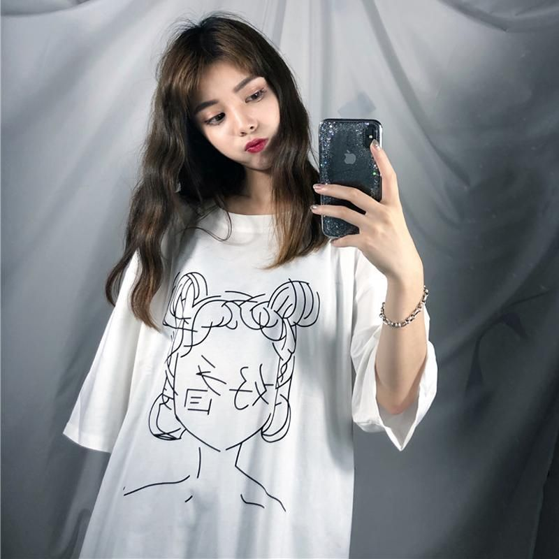 Itgirl Shop Anime Line Drawing Japanese Characters Oversized White