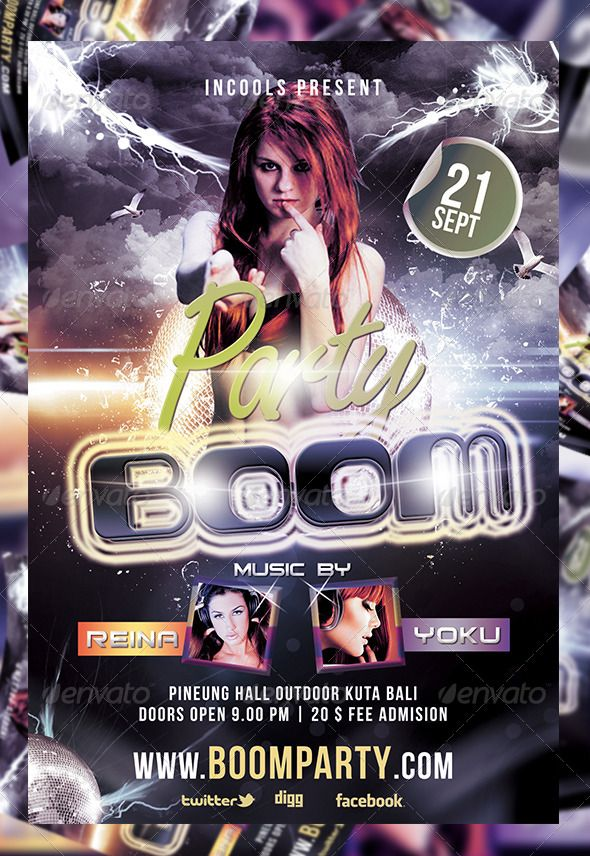 Boom Party Flyer Template #1 Pinterest Flyer template and