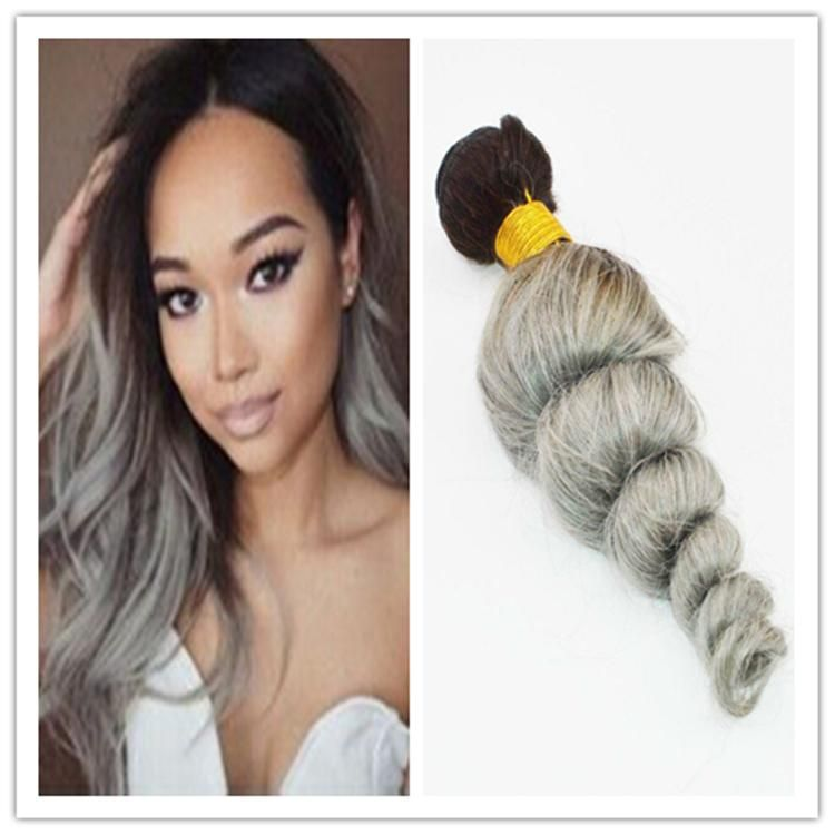 Unprocessed 8a Grade 1bgrey Hair Extensions Loose Wave 3pclot