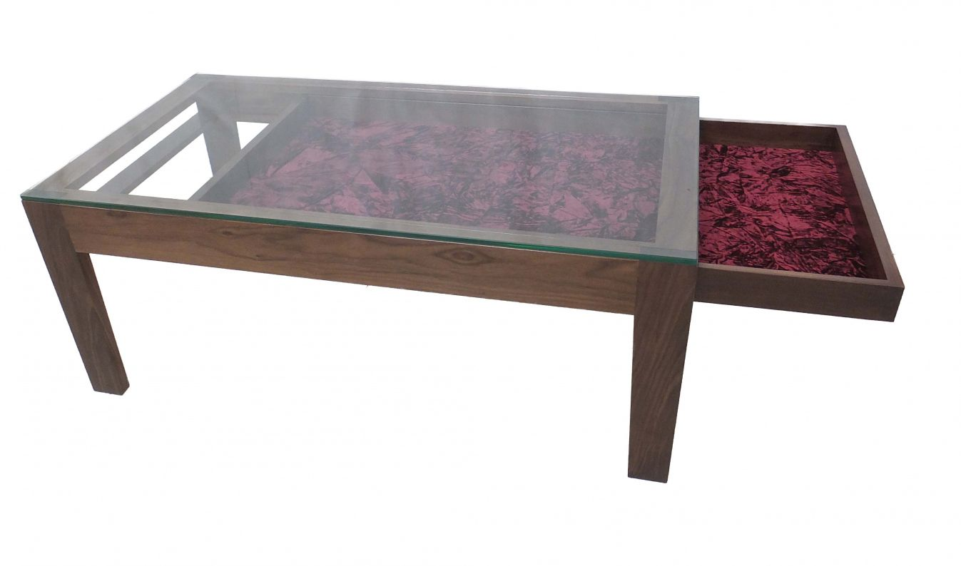 Glass top Display Coffee Table with Drawers Luxury Modern