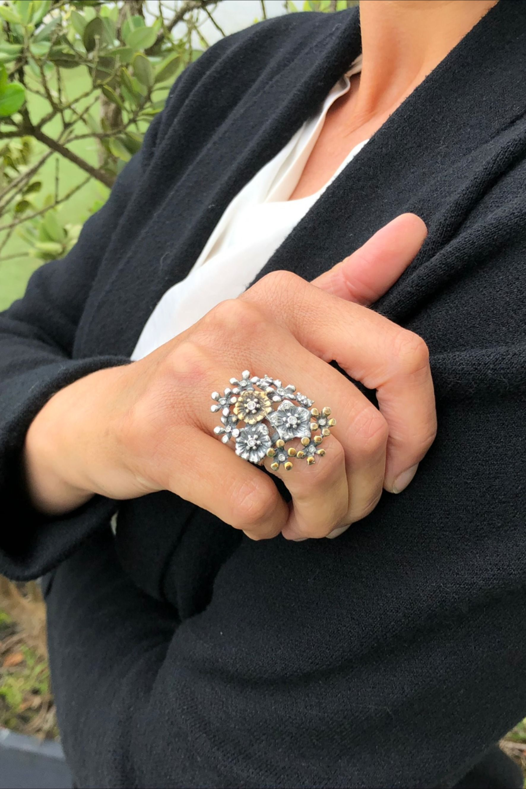 Sterling Silver Flower Statement Large Ring Silver Jewelry Handmade