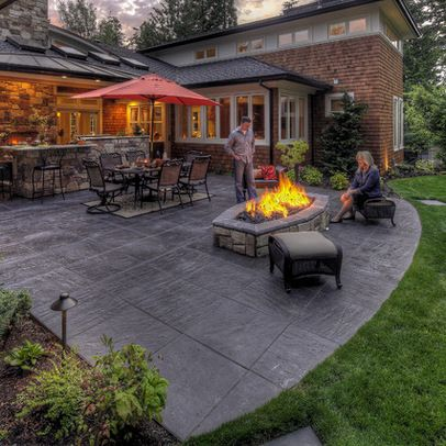 Stamped Concrete Patio Looks Like Large Pavers