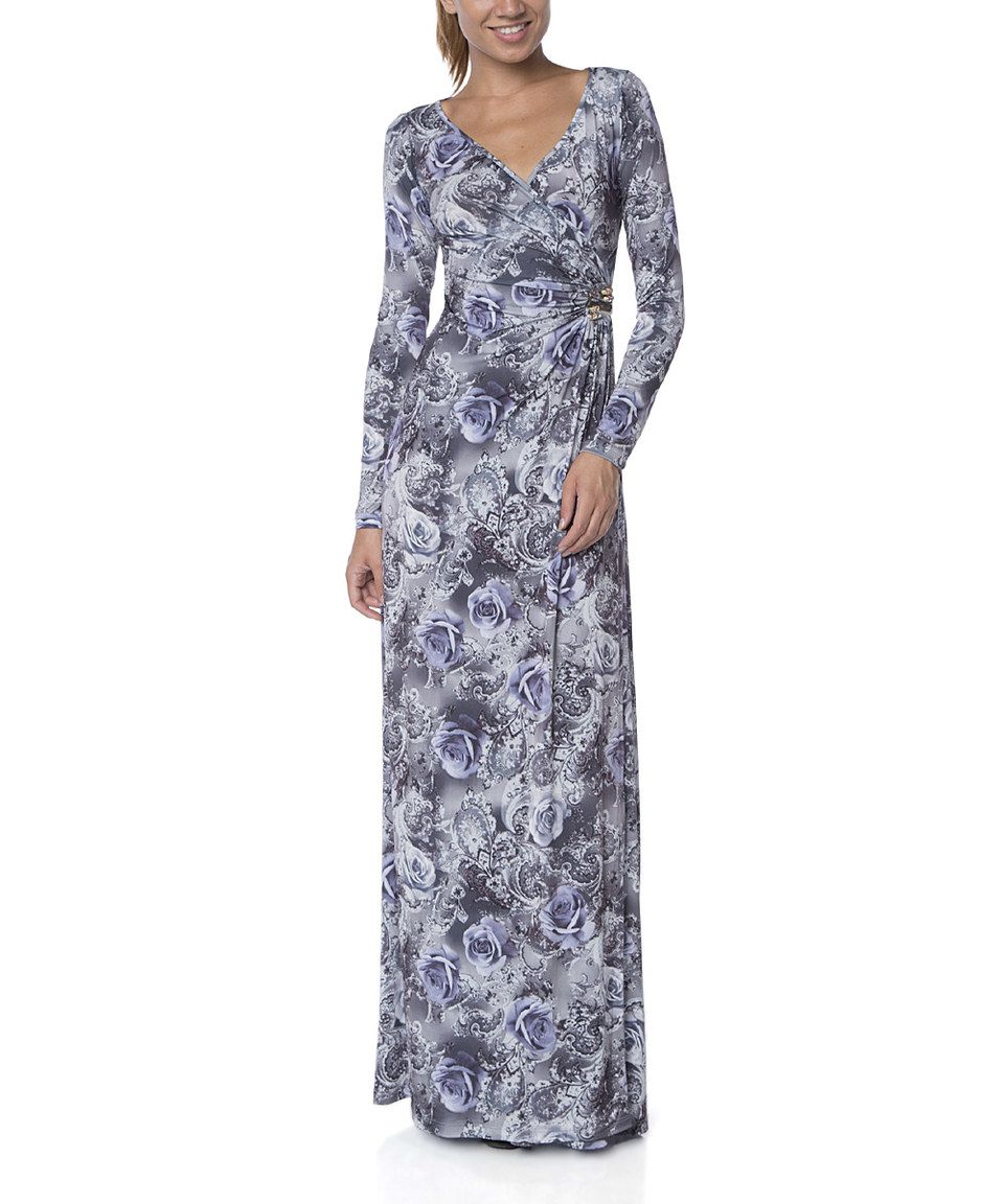 Fx missony gray floral wrap maxi dress maxi dresses wraps and floral