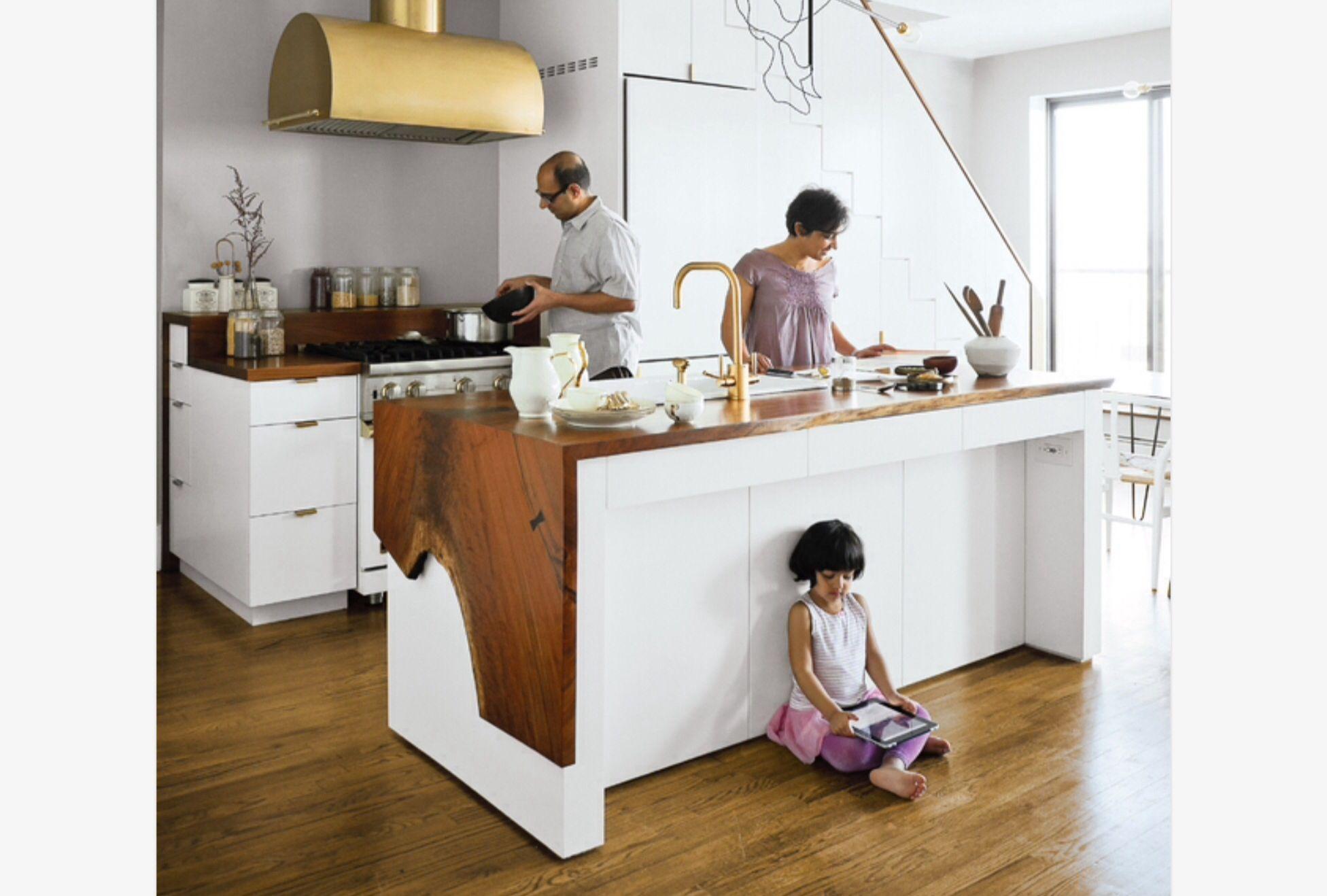 Love the wrap around waney edge kitchen worktop | Kitchen ...