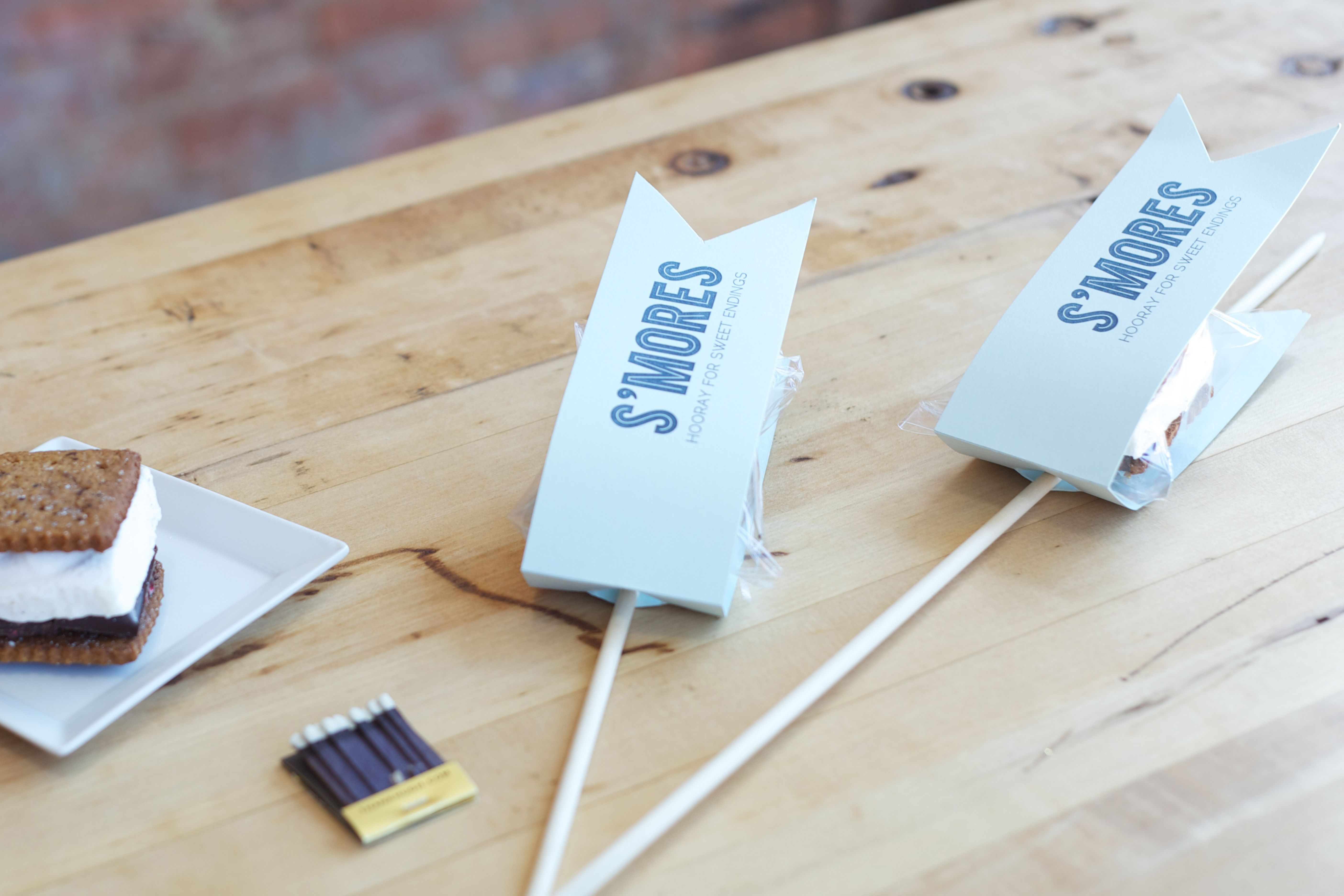 Letterpressed wedding favors (s\'mores packaging). Photo by Erika ...