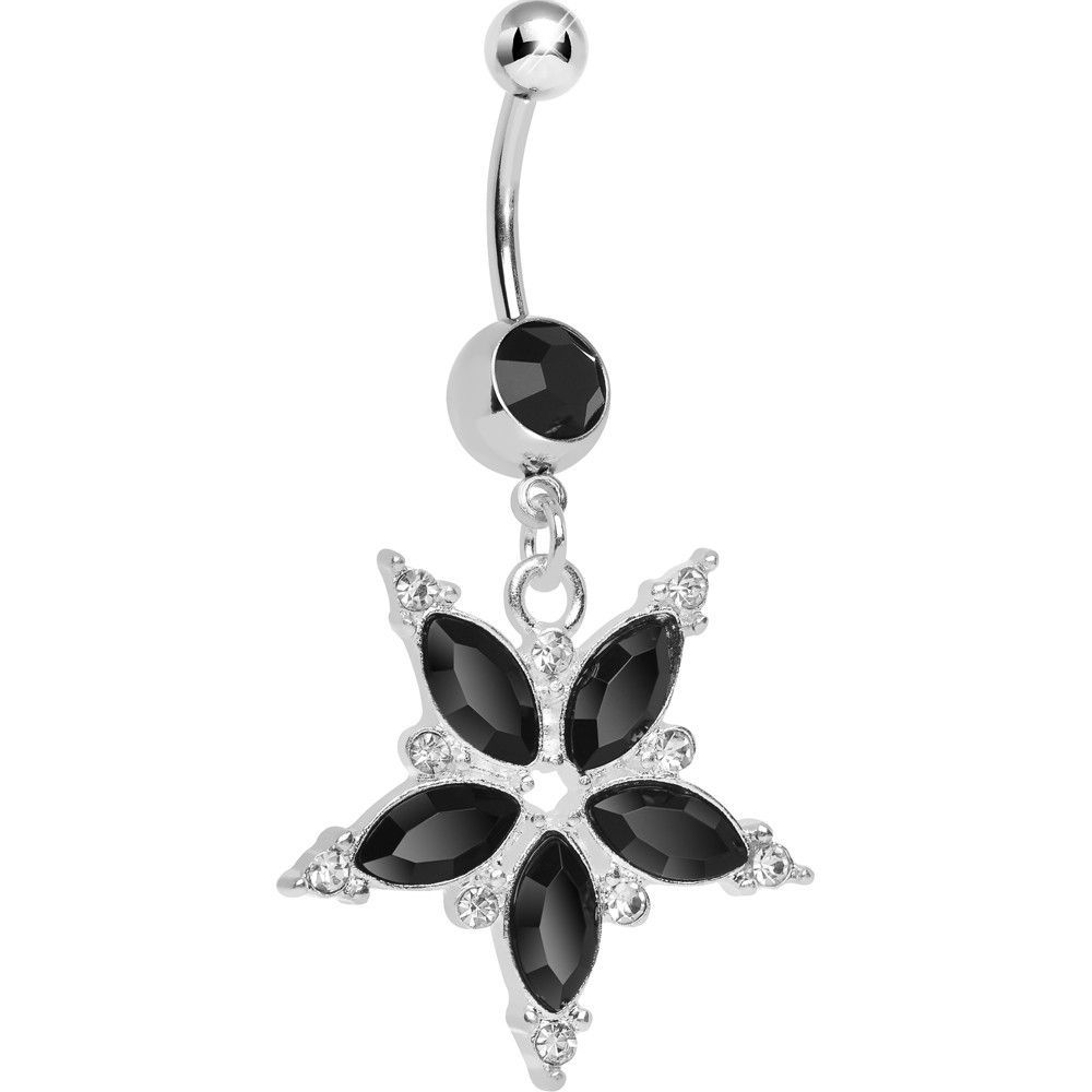 Black around belly piercing  Black Gem Five Petal Flower Belly Ring  Black gems and Products