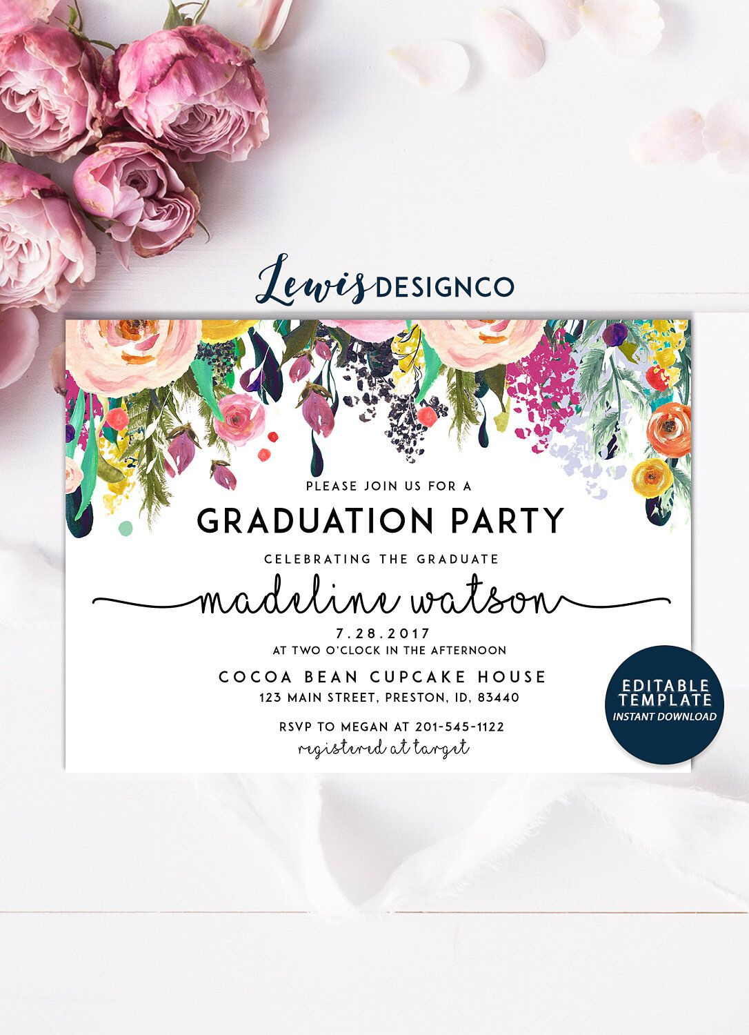 Graduation Party Invitation High School Graduation Invite Open House Class of 2019 Floral