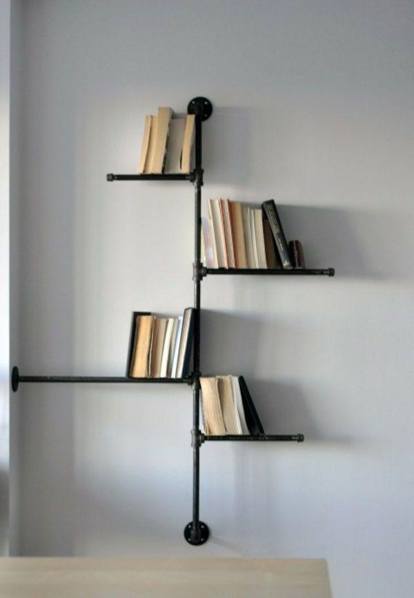 Bücherregal wand selber bauen  interessantes industrial bücherregal aus rohren zum selber bauen ...