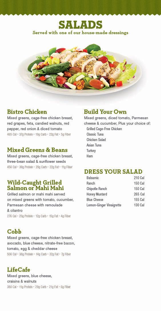 Life Cafe Menu Meals Snacks For Your Healthy Diet At Life Time Healthy Food Menu Healthy Vegetarian Dinner Healthy