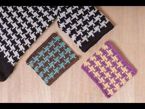 Tunisian Crochet Houndstooth Pattern for Houdstooth Coat - YouTube ...