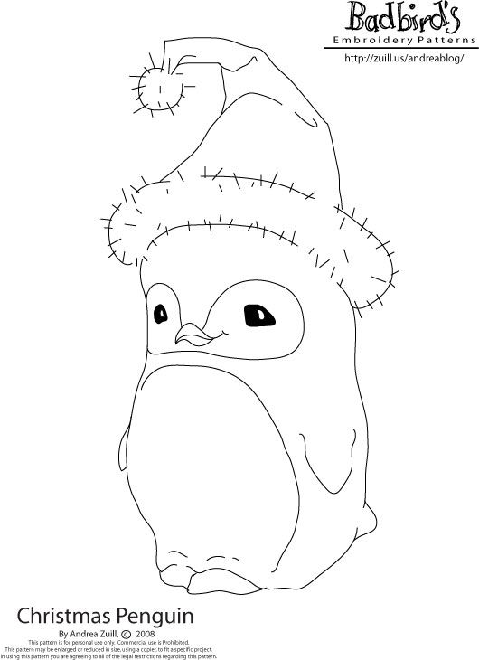 Christmas penguin embroidery pattern. I think this would