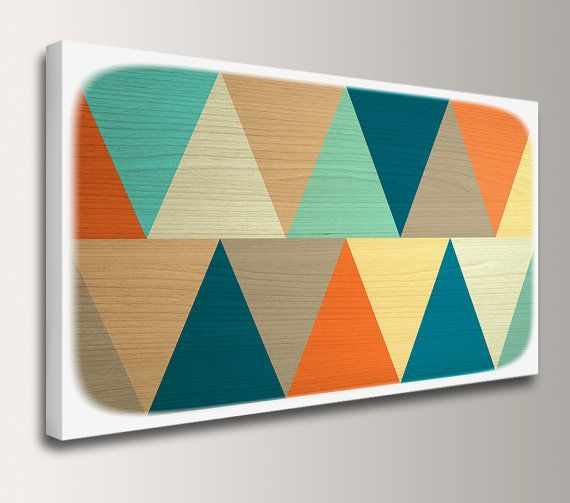 Mid Century Modern - Canvas Print Panorama - Teal u0026 Orange - Geometric Art  - Modern
