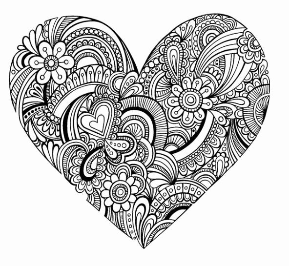 Heart Adult Coloring Pages in 2020 | Heart coloring pages ...