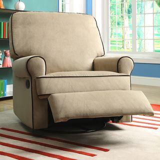 Chloe Sand Fabric Nursery Swivel Glider Recliner Chair, Brown ...