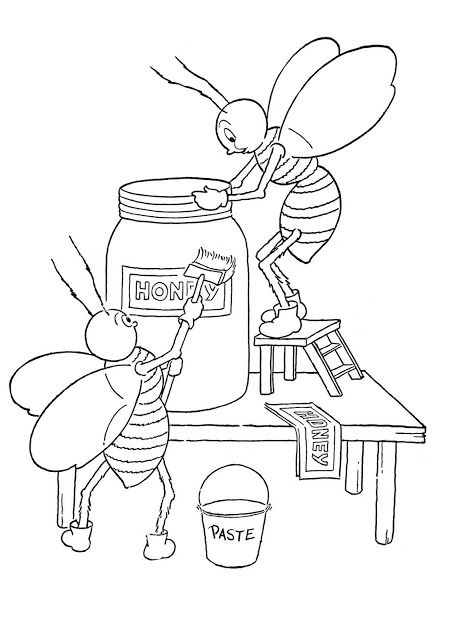 Click Here For The Full Size Printable Pdf This Is Another Fun Coloring Page From A Vintage Coloring Book Bee Coloring Pages Bee Drawing Cartoon Coloring Pages