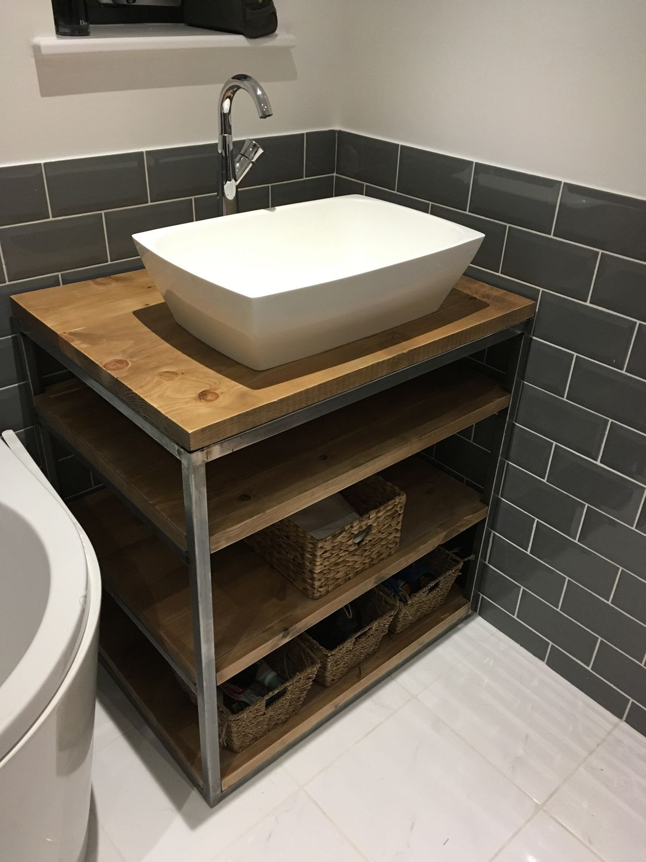 Industrial Style Bathroom Basin Vanity Unit Cabinet Industrial Style Bathroom Reclaimed Wood Vanity Wood Vanity