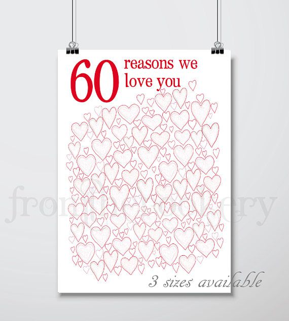80th Wedding Anniversary Gift: 60th Birthday PRINTABLES 60th Anniversary Gift Party