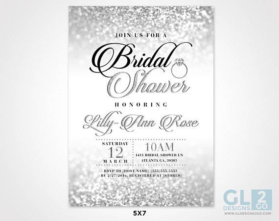 Silver bridal shower invitation silver white black pink bridal silver bridal shower invitation silver white black pink filmwisefo
