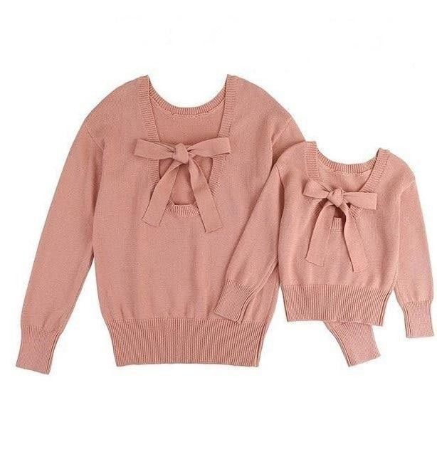 Photo of Dusty rose mother daughter matching knit sweaters