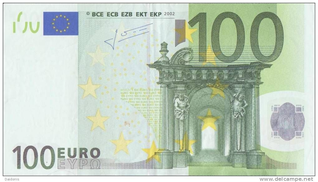 The 100 euro note represents structural designs of the