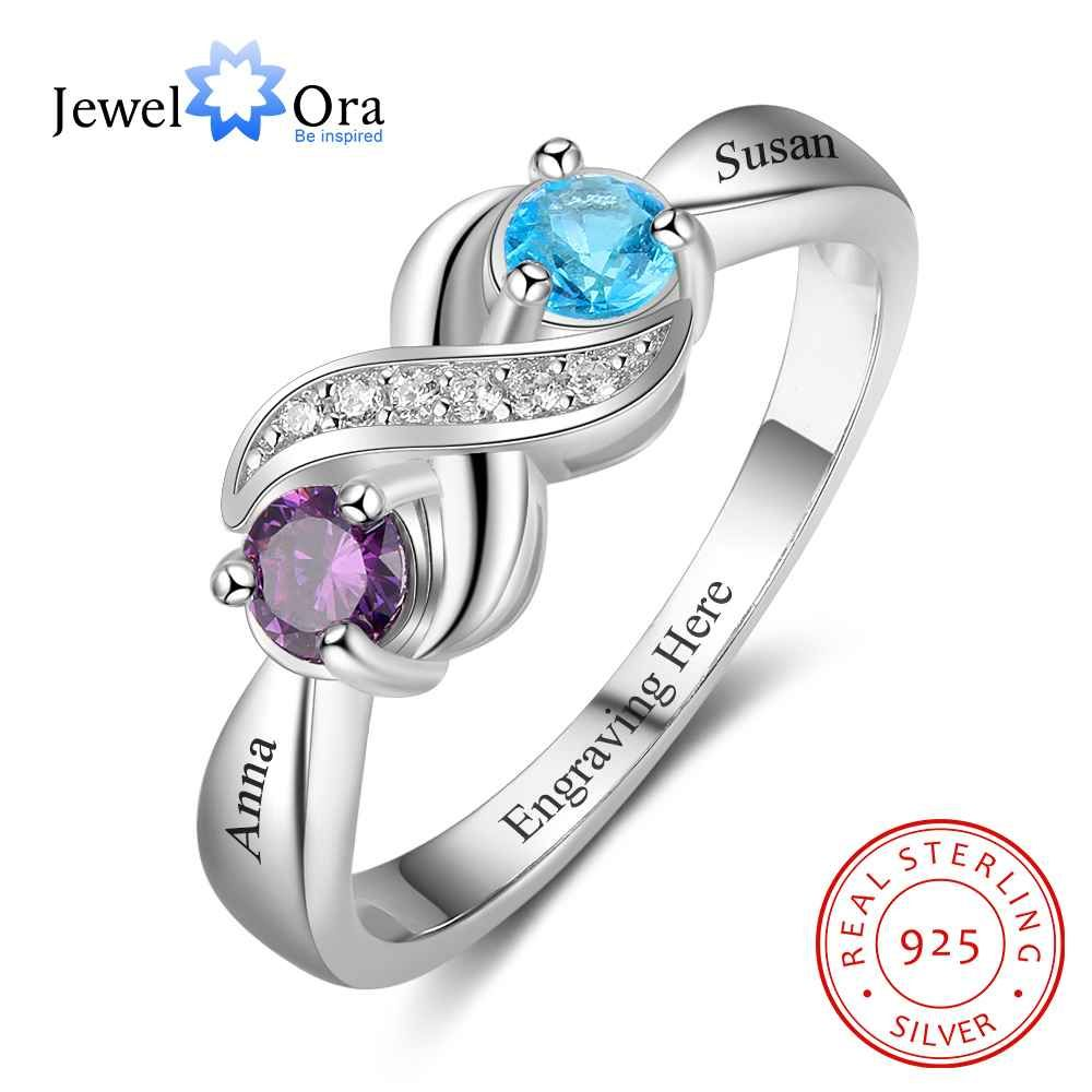 62c9518c34 Infinity-Love-Promise-Rings-Personalized-Birthstone Engrave 2 Names 925  Sterling-Silver-Jewelry-Gift-For-Her
