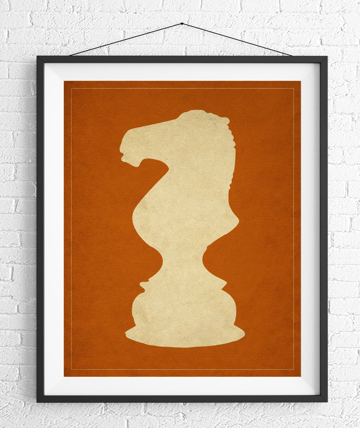 Chess Art, Knight Chess Piece Print, Board Game Art, Game Room Wall ...