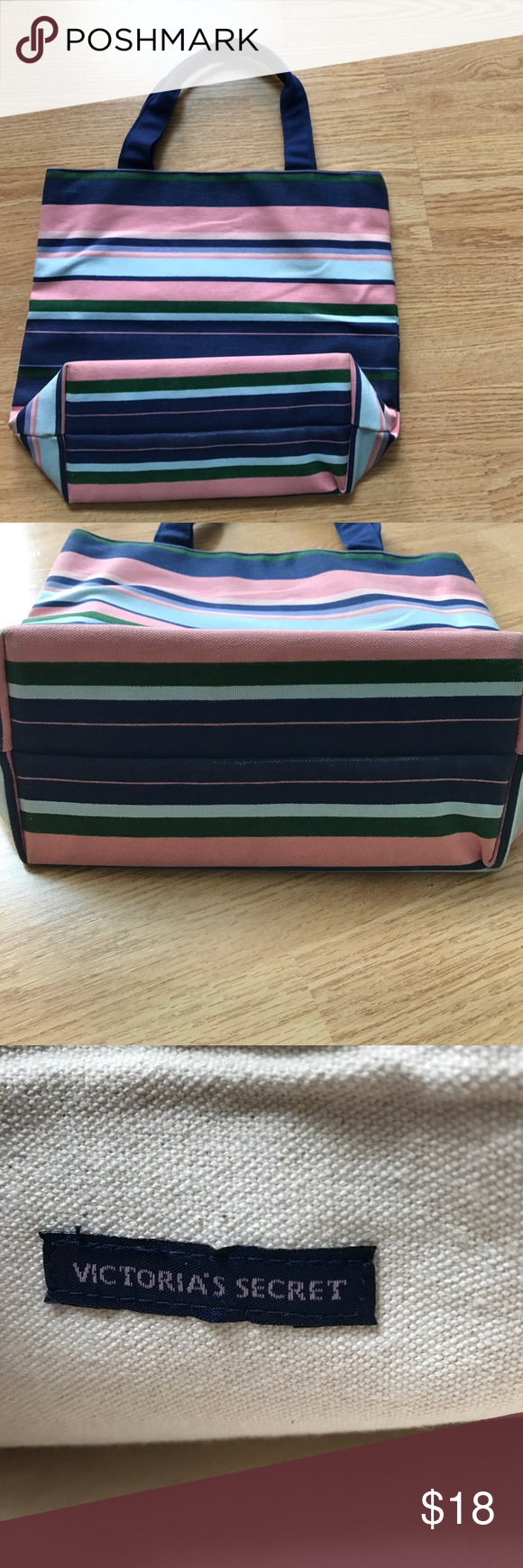 Victoria's Secret preppy striped bag pink blue Thick canvas tote. Navy handles measures 13 across and 11 inches long. Preppy stripes blue, green and pink Victoria's Secret Bags Totes