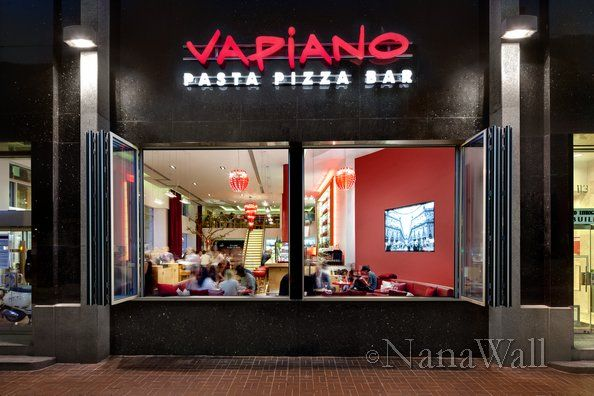 nanawall glass storefront at vapiano restaurant. | restaurants
