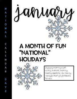 Journal Writing for January National Holiday Calendar