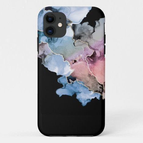 Abstract alcohol ink ART blue pink gold Black iPhone 11 Case #Shopping #UnqiueGifts