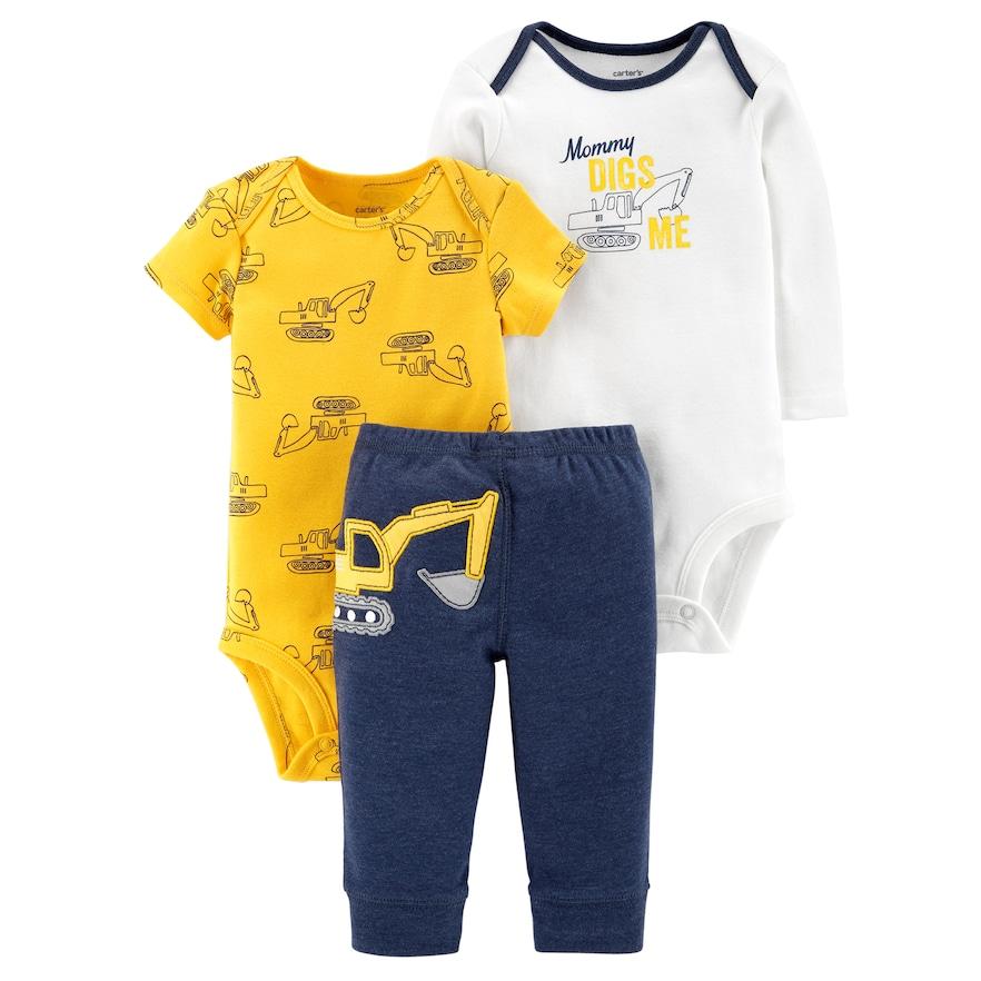 a99d447c06ac Baby Boy Carter s 3-piece. Construction Bodysuit   Pants Set