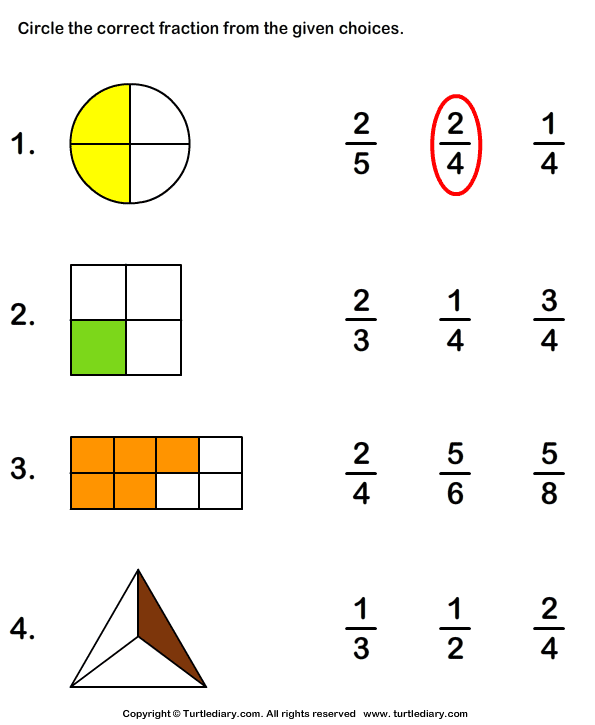 maths worksheets for grade 2 Google Search – Worksheets on Fractions for Grade 2
