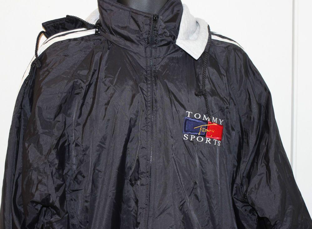 Mens Tommy Hilfiger Jacket Coat Hooded Black Nylon Size XL #TommyHilfiger #BasicJacket