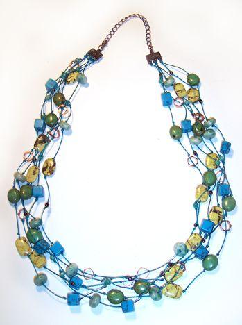 #DIY Sunlit Seas Necklace - Colar turquesa com tutorial - de CYNDI LAVIN no site Beading Arts