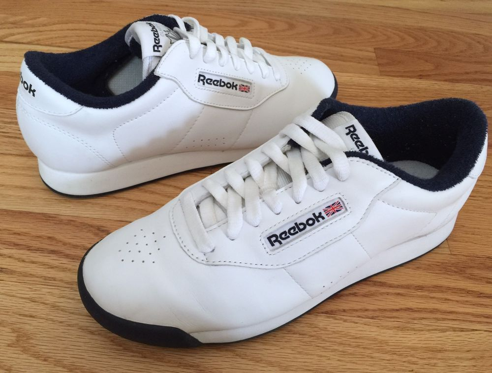 556630579fb4 Women s Reebok Princess SZ 8.5 M Classic White   Blue Sneaker Shoe Walking   Reebok  Tennis