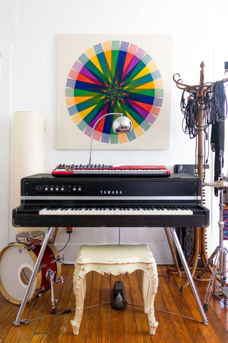 Colorful In Home Music Studio With Vintage Yamaha CP 70 Grand Piano