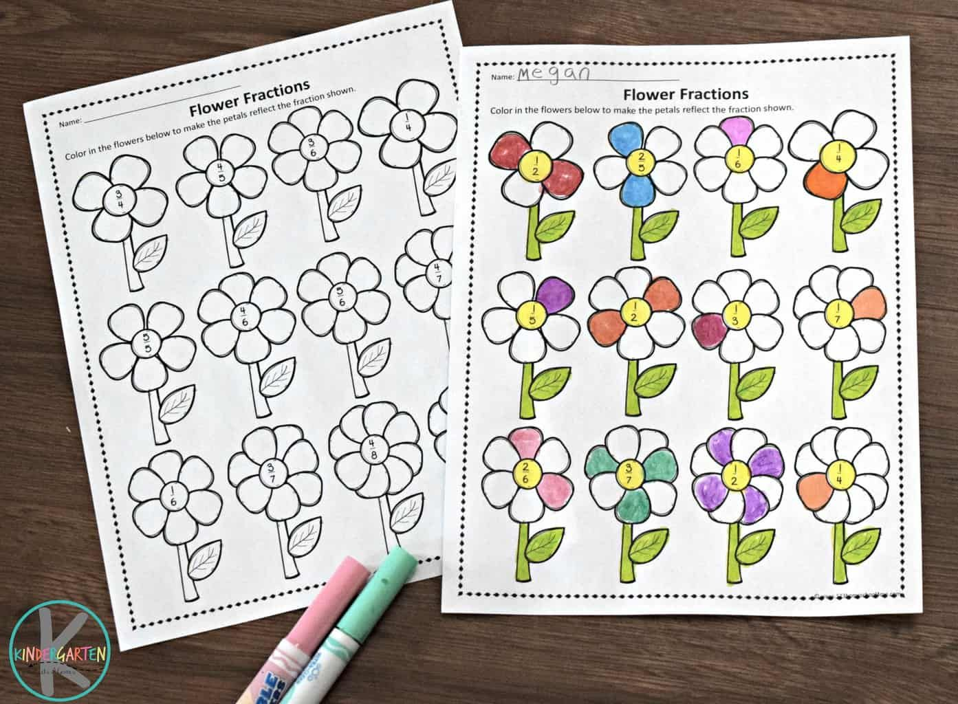 Fraction Flowers Puzzles and Worksheets   Fun fractions, Fractions ...
