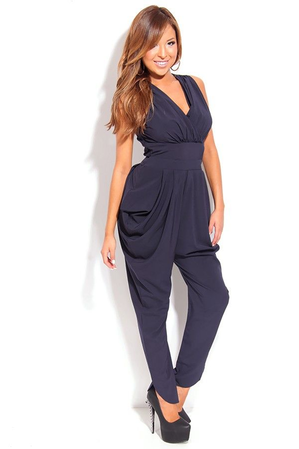 6e8caf59cf85 NAVY PLEATED DETAIL BAGGY HIP JUMPSUIT