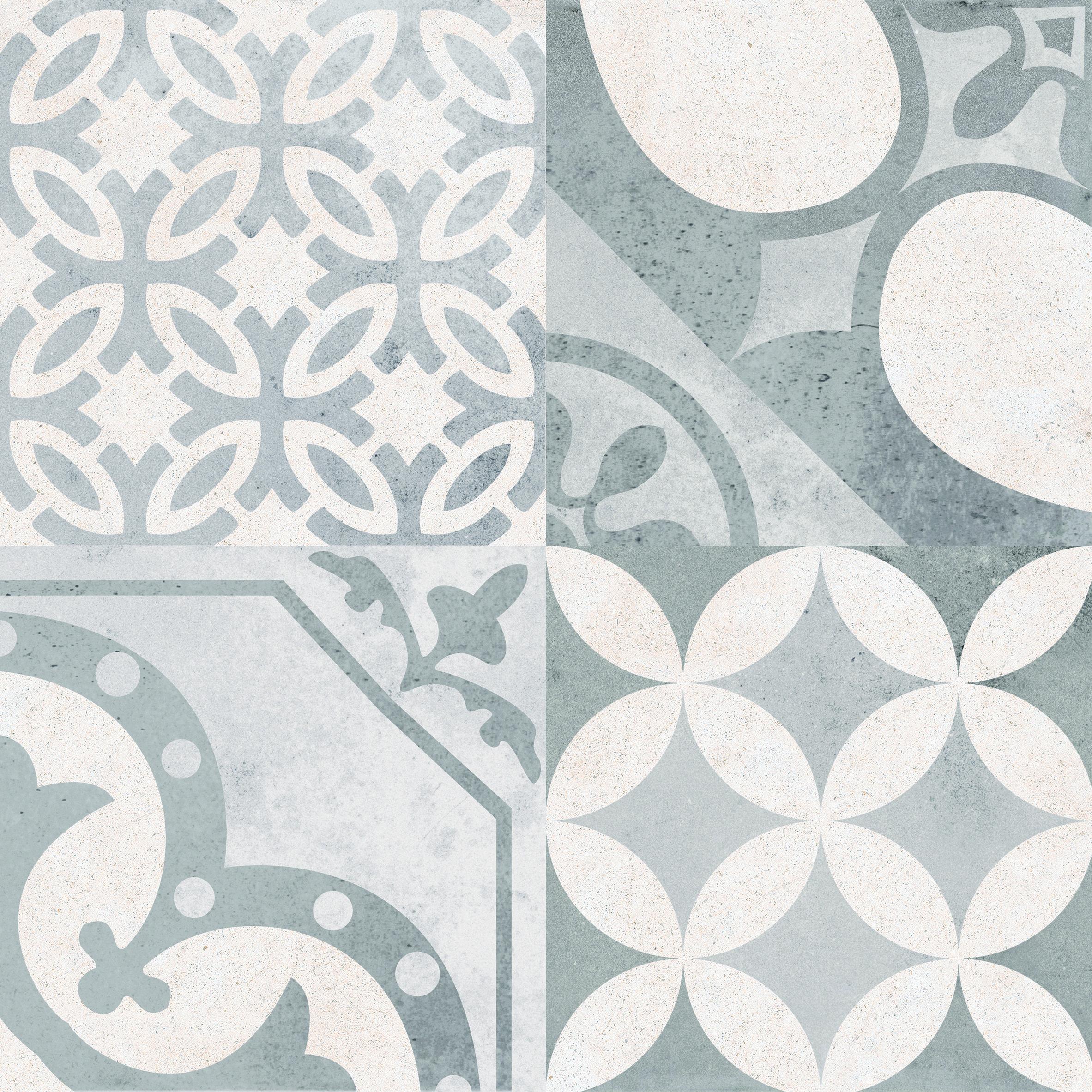 boheme patterned ceramic floor tile - 450x450mm gris available