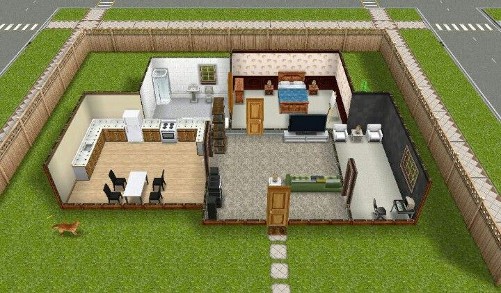 Sims freeplay simple house ideas for Minimalist house sims 2