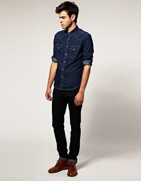 Indigo Dark Denim Shirt and Black Jeans Mens Look | Men's Fashion ...