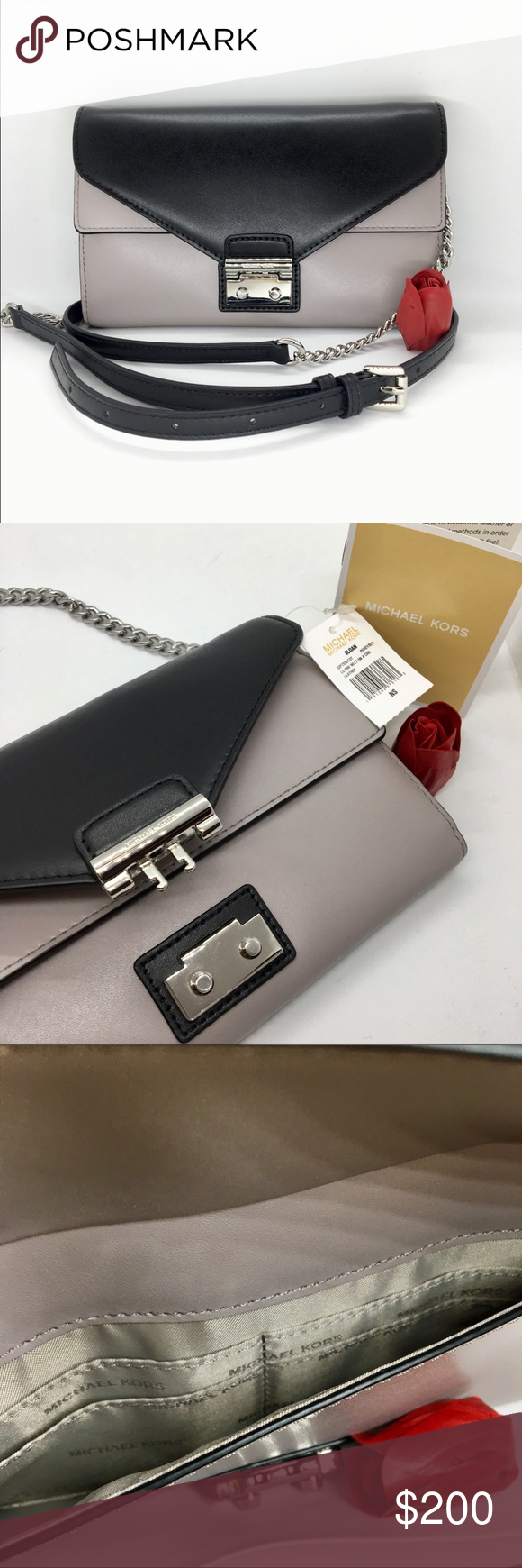 c74be1ad036f MichaelKors Sloan Color-Block Leather Chain Wallet BNWT - Crafted from  smooth 100% leather