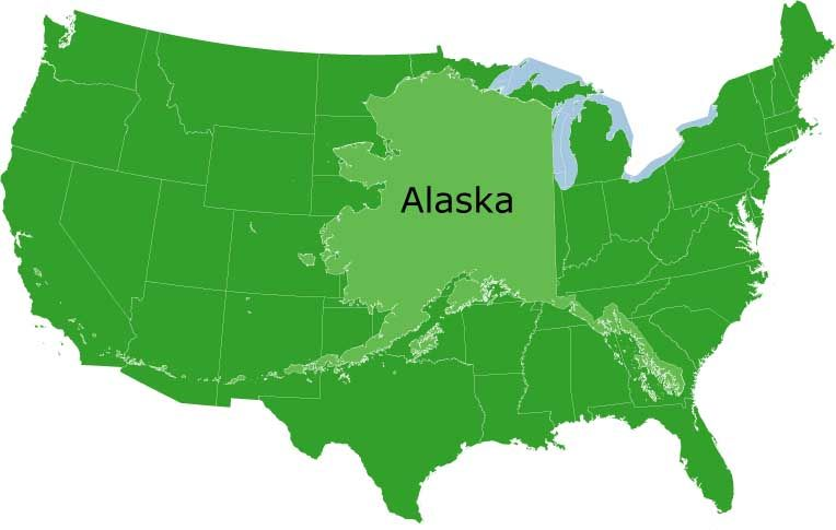 Size of United States  Did you know the state of Alaska is the