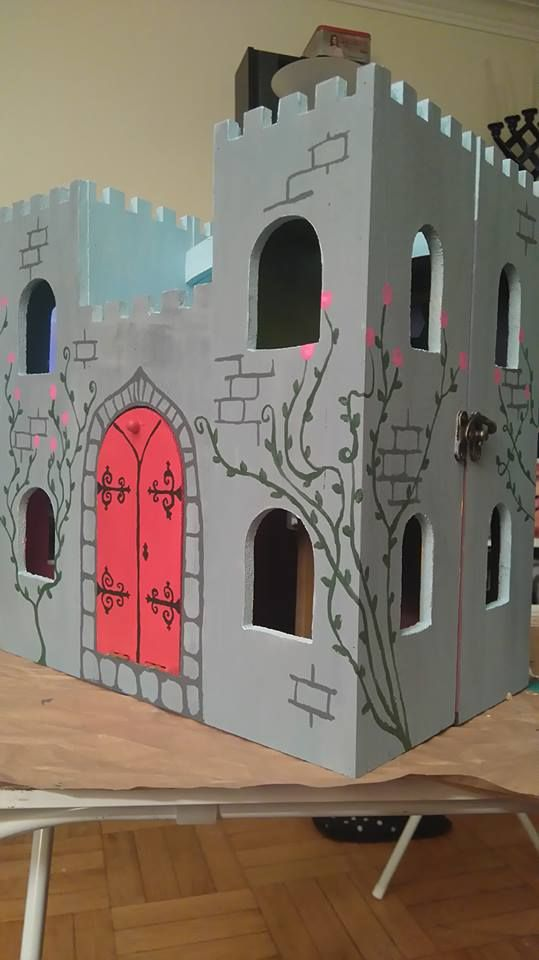 Painted Wooden Castle From Michaels By Vicky Lynn Wooden