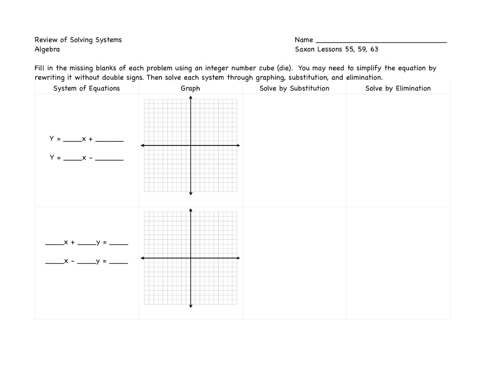 Review For Solving Systems Of Equations With Images